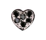 Heart Black - Silver & CZ Charm